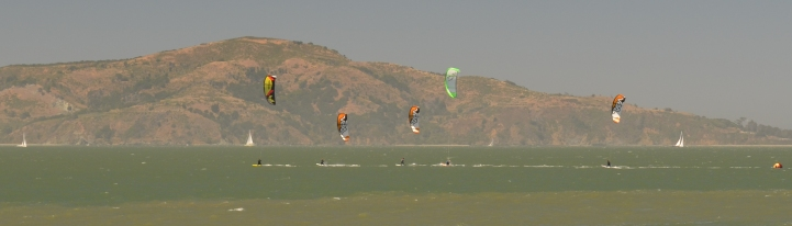 Kite Surfers off Angel Island